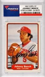 Johnny Bench Cincinnati Reds Autographed 1982 Fleer #57 Card