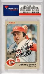 Johnny Bench Cincinnati Reds Autographed 1983 Fleer #584 Card with 14 X All Star Inscription