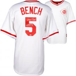 "Johnny Bench Cincinnati Reds Cooperstown Collection White Throwback Jersey with ""76 WS MVP"" Inscription"