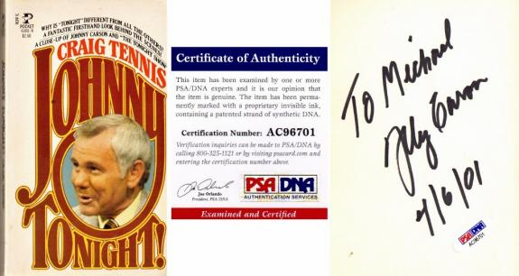 Johnny Carson Signed - Autographed Johnny Tonight! Paperback Book with PSA/DNA Certificate of Authenticity (COA) - Deceased 2005 - Personalized to Michael