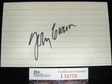 Johnny Carson Signed Index Card Tonight Show #1 Host Died-2005 JSA/SOA