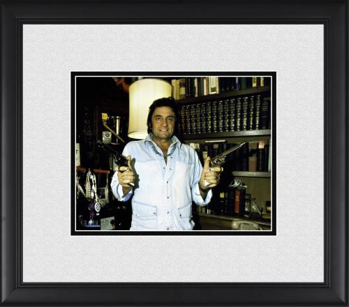 "Johnny Cash Framed 8"" x 10"" at Home Holding Guns Photograph"