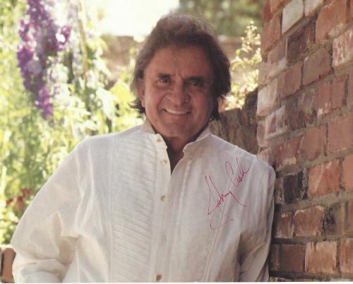 "JOHNNY CASH - Hits Include ""I WALK the LINE"", ""FOLSOM PRISON BLUES"", and ""RING of FIRE"" (Passed Away 2003) Signed 10x8 Color Photo"