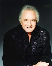 """JOHNNY CASH - Hits Include """"I WALK the LINE"""", """"FOLSOM PRISON BLUES"""", and """"RING of FIRE"""" Signed 8x10 Color Photo"""
