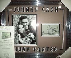 Johnny Cash & June Carter Cash Music Legends Signed Double Matted Framed Jsa Loa