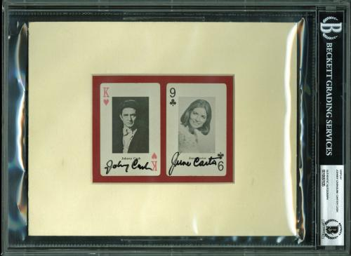 Johnny Cash & June Carter Cash Signed & Matted Playing Cards BAS Slabbed