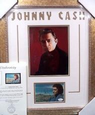 Johnny Cash Music Legend Signed Auto Post Card Double Matted & Framed Jsa Loa