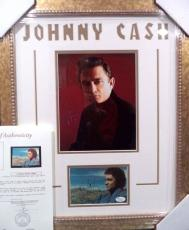 Johnny Cash Music Legend Signed Autograph Postcard Double Matted Framed Jsa Loa