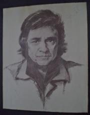 Johnny Cash Music Legend Signed Autographed 16x20 Pencil Sketch Poster W/coa