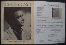 Johnny Cash Music Legend Signed Autographed 1956 Souvenir Folio Booklet Jsa Loa
