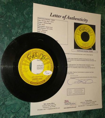 Johnny Cash Music Legend Signed Autographed 45 Vinyl Rare Jsa Loa #z72048