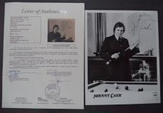 Johnny Cash Music Legend Signed Autographed 8x10 B/w Promo Photo Jsa Loa #z03901