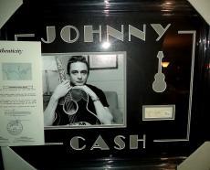 Johnny Cash Music Legend Signed Autographed Double Matted & Framed Jsa Loa A