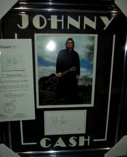 Johnny Cash Music Legend Signed Autographed Double Matted & Framed Jsa Loa Rare