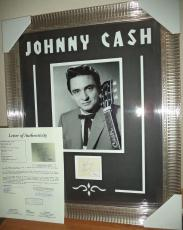 Johnny Cash Music Legend Signed Autographed Double Matted Framed Jsa Loa Rare B