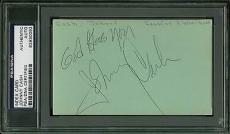 Johnny Cash Signed 3x5 Cut Signature PSA/DNA Slabbed