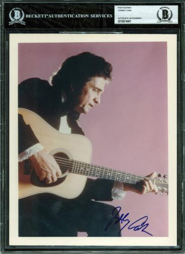Johnny Cash Signed 8x10 Photo Autographed BAS Slabbed