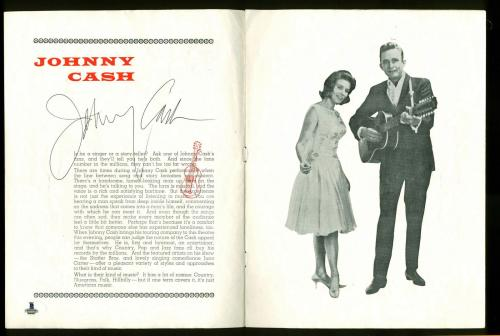 Johnny Cash Signed 8x10.5 Mid-1960s UK Souvenir Program BAS #B00987