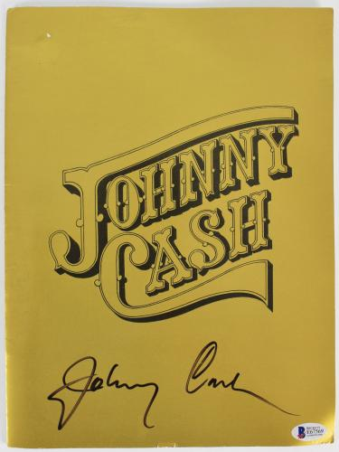Johnny Cash Signed 9x12 1974 Concert Tour Program BAS #E67569
