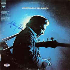 Johnny Cash Signed At San Quentin Album Cover W/ Vinyl PSA #AA82200