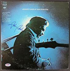 Johnny Cash Signed 'At San Quentin' Album Cover W/ Vinyl PSA/DNA #AA82200