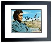 Johnny Cash Signed - Autographed Man in Black Singer - 6x4 inch Postcard - Photo - BLACK CUSTOM FRAME - Deceased 2003 - Guaranteed to pass PSA or JSA