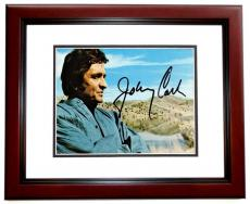 Johnny Cash Signed - Autographed Man in Black Singer - 6x4 inch Postcard - Photo - MAHOGANY CUSTOM FRAME - Deceased 2003 - Guaranteed to pass PSA or JSA
