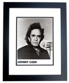 Johnny Cash Signed - Autographed Rock and Roll - Country Music Singer 1994 Promo 8x10 inch Photo BLACK CUSTOM FRAME - Deceased 2003 - Guaranteed to pass PSA or JSA