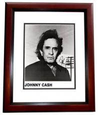 Johnny Cash Signed - Autographed Rock and Roll - Country Music Singer 1994 Promo 8x10 inch Photo MAHOGANY CUSTOM FRAME - Deceased 2003 - Guaranteed to pass PSA or JSA