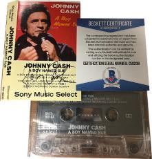 "Johnny Cash signed ""Boy Named Sue"" 1973 Cassette Cover w/ Tape- Beckett Hologram #C50208"