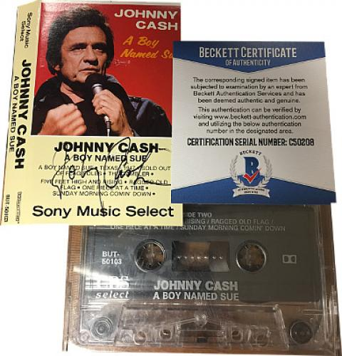 "Johnny Cash signed ""Boy Named Sue"" 1973 Cassette Cover w/ Tape- Beckett Hologram #C50208"