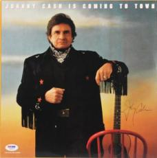 Johnny Cash Signed Coming To Town Album Cover Psa/dna #w46833