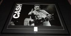 Johnny Cash Signed Framed 32x41 Poster Photo Display JSA Middle Finger