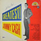 Johnny Cash Signed Greatest Album Cover W/ Vinyl Autographed BAS #B73205
