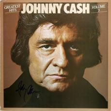 Johnny Cash Signed Greatest Hits Vol 3 Album Cover W/ Vinyl BAS #C57749