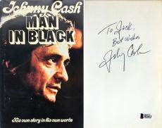 Johnny Cash Signed Man In Black Autobiography Hardcover Book BAS #B51613