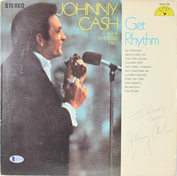 "Johnny Cash ""To Linda Love"" Signed Get Rhythm Album Cover W/ Vinyl BAS #D23798"