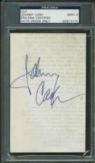 Johnny Cash Vintage Signed Autographed 3x5 Album Page PSA/DNA MINT 9