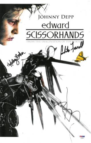 Johnny Depp +2 Signed Edward Scissorhands Autographed 11x17 Photo PSADNA#AC08573