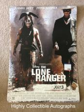 Johnny Depp & Armie Hammer Signed 27x40 Original Movie Poster Lone Ranger Psa