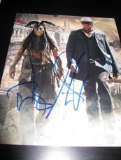 JOHNNY DEPP ARMIE HAMMER SIGNED AUTOGRAPH 8x10 THE LONE RANGER PROMO IN PERSON E