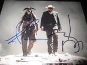 JOHNNY DEPP ARMIE HAMMER SIGNED AUTOGRAPH 8x10 THE LONE RANGER PROMO IN PERSON G