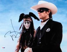 Johnny Depp Armie Hammer Signed Autographed 11X14 Photo Lone Ranger PSA U59623