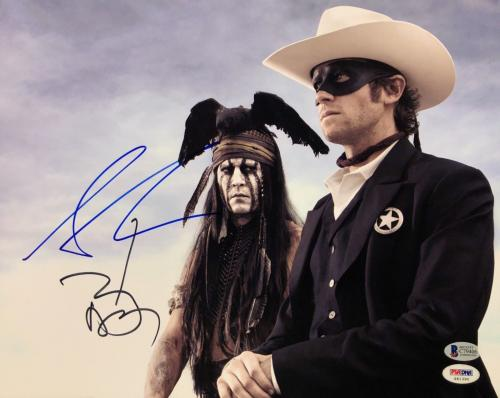 Johnny Depp & Armie Hammer Signed 'Lone Ranger' 11x14 Photo Beckett BAS C79406