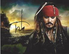 "JOHNNY DEPP as CAPTAIN JACK SPARROW in ""PIRATES of the CARIBBEAN"" Signed 10x8 Color Photo"