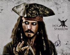 Johnny Depp Autographed 11x14 Pirates Of The Caribbean Poster Photo Video Proof