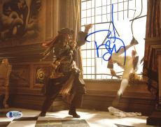 """Johnny Depp Autographed 8"""" x 10"""" Pirates of The Caribbean Jack Sparrow Fighting Photograph - Beckett COA"""