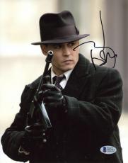 "Johnny Depp Autographed 8""x 10"" Public Enemies Holding Tommy Gun Photograph - Beckett COA"