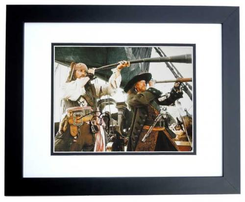 Johnny Depp Signed - Autographed Pirates of the Caribbean 11x14 inch Photo BLACK CUSTOM FRAME - Guaranteed to pass PSA or JSA - Captain Jack Sparrow