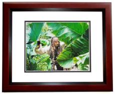 Johnny Depp Autographed Pirates of the Caribbean 11x14 Photo MAHOGANY CUSTOM FRAME